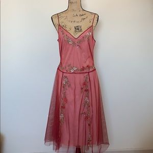 NWT beaded floral red formal BCBG dress